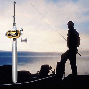 Mini Portable Aluminum Alloy Pocket Pen Shape Fish Fishing Rod Pole With Reel