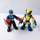 """2.5""""  PlaySkool Heroes Marvel Super Hero Captain America Wolverine Action figure"""