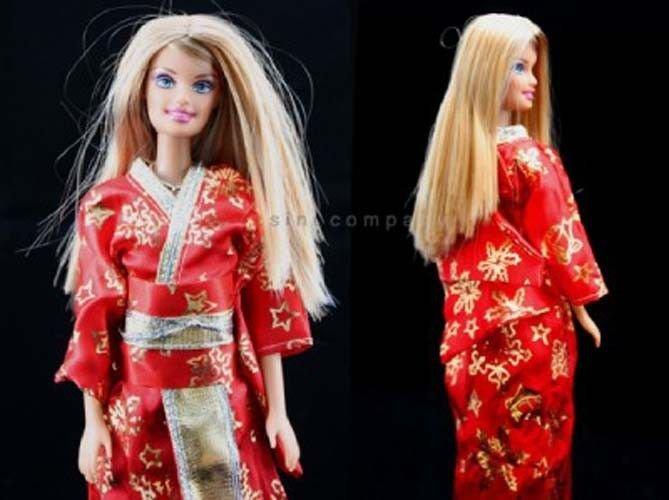 2pcs Japanese Clothes Kimonos Custom Dresses For Barbie Dolls Girl's Gift