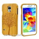 Natural Carved Tree Wooden Bamboo Case Cover for Samsung Galaxy S8 Plus S5 Mini