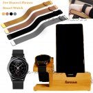 USB Bamboo Charging Dock Stand Holder+Alloy Loop Watch Band For Huawei Watch