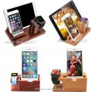 Rose Wood Charging Dock Station Holder Stand For Apple Watch iPhone 8 Plus i Pad