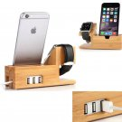 Bamboo USB Charging Dock Station Stand Holder For Apple Watch/Huawei Watch&Phone