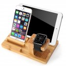 3in1 Charge Dock Bamboo Holder For Apple Watch iWatch iPhone 8 Plus i Pad Pro
