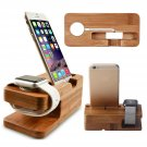 2in1 Bamboo Charging Dock Station Stand Holder For Apple Watch 1/2 iPhone 7 6s 5