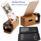 Wood Bamboo Charging Dock Station Stand Holder For Apple Watch iPhone 6s 7 Plus