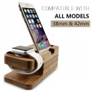 Bamboo Charging Dock Station Charger Holder Stand For Apple Watch iPhone 7 6s SE