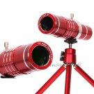Red 18X Zoom Telescope Camera Lens+Phone Holder For iPhone 7 7 Plus/6s/6 Plus/SE