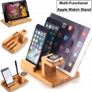 Bamboo Charging Dock Station Stand Holder For Apple Watch /iPhone 8 i Pad Air 2
