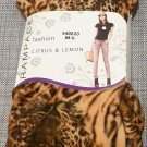 RAMPAGE Golden Orange Tiger Leopard Print Thick Fleece Legging Citrus and Lemon