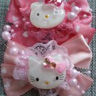 2 Hello Kitty Hair Ornament Clips Bows in Pink for Girls Alligator Clip