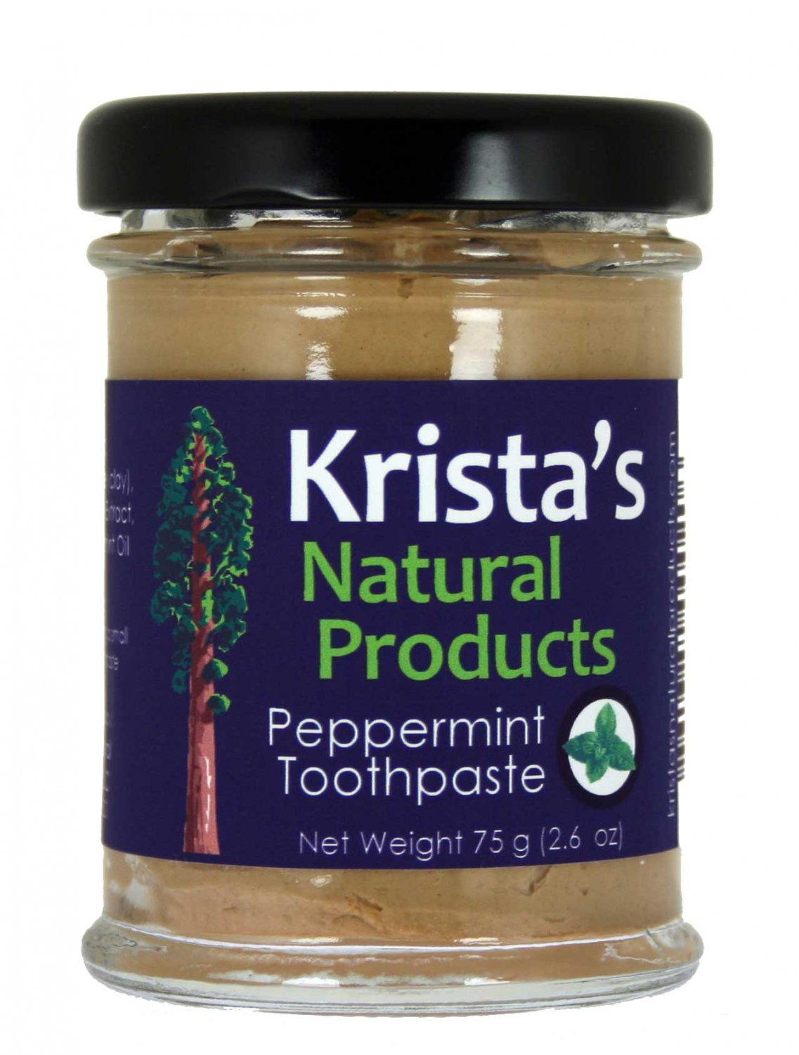 Natural Peppermint Toothpaste made with clay and organic mint by Krista's Natural Products