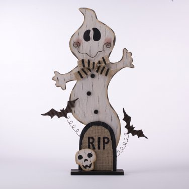 """Glitzhome """"Rip"""" Iron/Wooden Ghost Decor With Bat And Skull For Hallowen"""