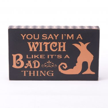Glitzhome Handmade Halloween Witch Wooden Frame Word Sign
