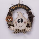 Glitzhome Handmade Halloween Wooden Welcome Ghost Hanging Wreath Wall Decor