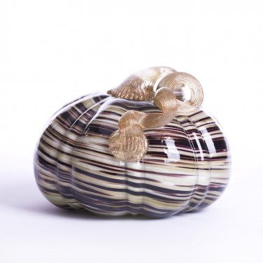 "Glitzhome 5.12"" Handblown Brown/Gold Stripe Decorative Glass Pumpkin"