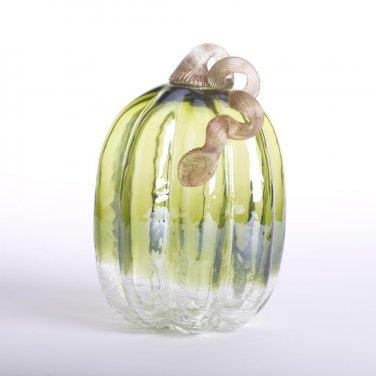 """Glitzhome 8.66"""" Handblown Green Crackle Glass Pumpkin with Golden Stem"""