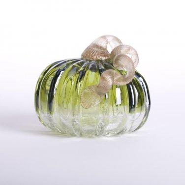 """Glitzhome 4.72"""" Handblown Green Crackle Glass Pumpkin with Golden Stem"""