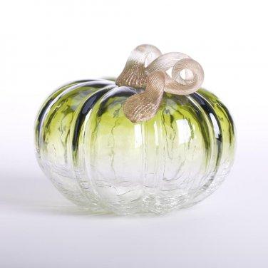 """Glitzhome 5.51"""" Handblown Green Crackle Glass Pumpkin with Golden Stem"""