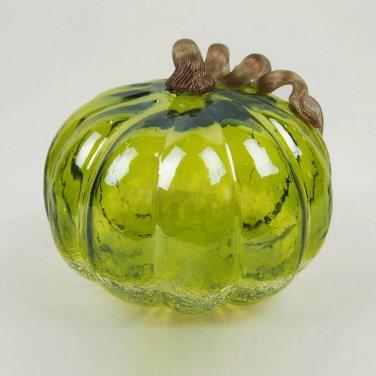 """Glitzhome 7.09"""" Handblown Green Crackle Glass Pumpkin with Golden Stem"""