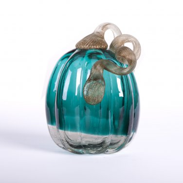 """Glitzhome 5.52"""" Handblown Turquoise Crackle Oblate Glass Pumpkin for Fall Decorating"""