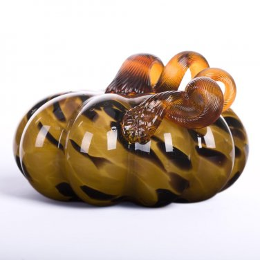 "Glitzhome 5.91"" Handblown Leopard Glass Pumpkin for Fall Decorating"