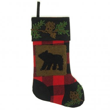 """Glitzhome 19"""" Plaid Christmas Stocking with Rug Hooked Bear"""
