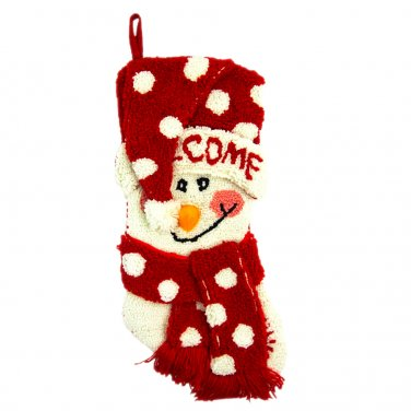 "Glitzhome 20"" Hooked Christmas Stocking with 3D Snowman"