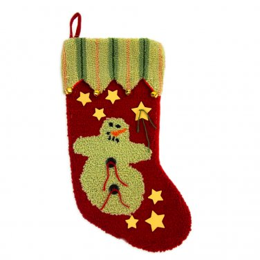 """Glitzhome 19"""" Hooked Christmas Stocking with Snowman"""