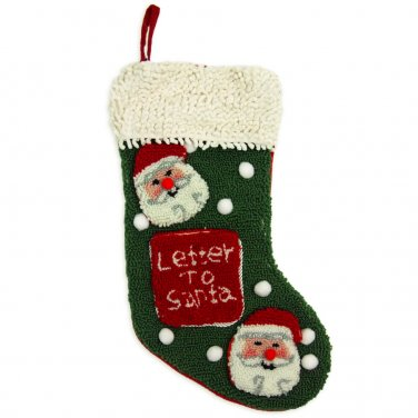 "Glitzhome 19"" Hooked Christmas Stocking with Santa"
