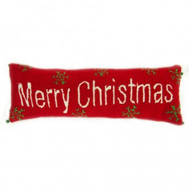 "Glitzhome 24"" Hooked Pillow with Merry Christmas"