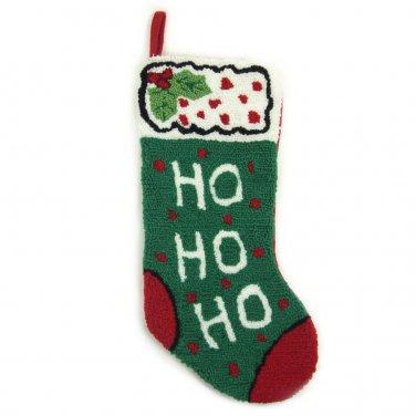 """Glitzhome 19.3"""" Hooked Christmas Stocking with HO HO HO"""