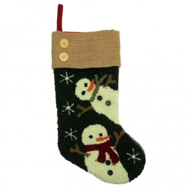"""Glitzhome 19.3"""" Hooked Christmas Stocking with Snowman"""