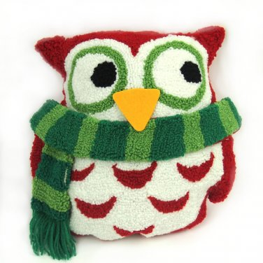 "Glitzhome 13.5"" L X 14"" H Hooked Pillow with 3D Owl"