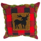 "Glitzhome 14"" X 14"" Plaid Pillow with Hooked Reindeer"