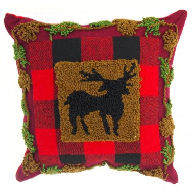 """Glitzhome 14"""" X 14"""" Plaid Pillow with Hooked Reindeer"""