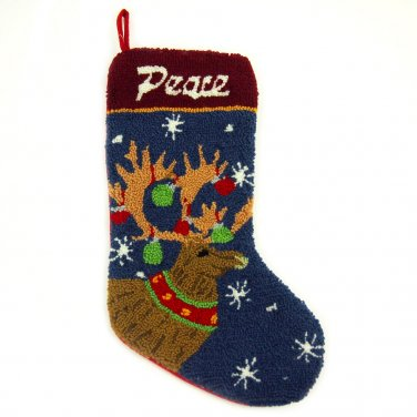 """Glitzhome 19"""" Hooked Christmas Stocking with Reindeer"""