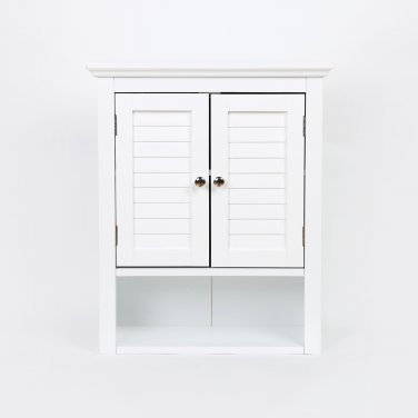 """Glitzhome 24.1""""H Wooden Bathroom Wall Storage Cabinet with Double Doors, White"""