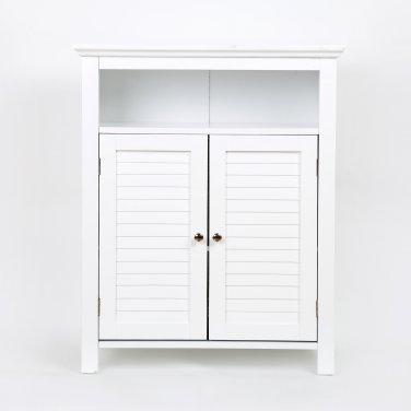 """Glitzhome 32""""H Wooden Floor Storage Cabinet with 2 Shutter-Door, White"""