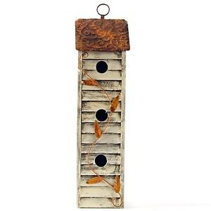 Glitzhome Rustic Garden Distressed Hanging Rectangle Wooden Birdhouse