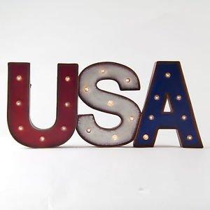 "Glitzhome 12.09"" H Marquee Letter Sign Patriotic ""USA"""