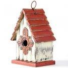 "Glitzhome 8.94""H Hanging Garden Distressed Wooden Garden Birdhouse, Gambrel Roof"