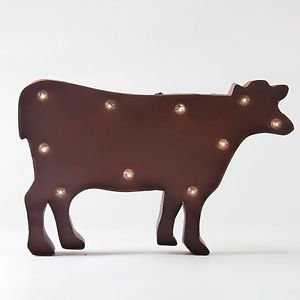 Glitzhome Rusty Marquee LED Lighted Cow Sign Wall Decor Battery Operated