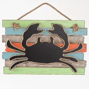 Glitzhome Wooden Hanging Decor Crab Chalkboard Rope Sign