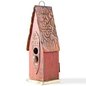Glitzhome Rustic Garden Distressed Wooden Birdhouse, Retro Red