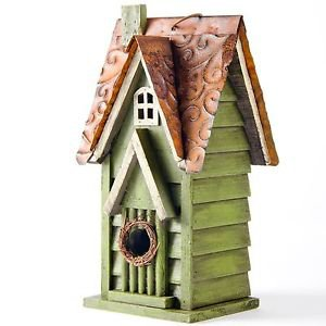 Glitzhome Rustic Garden Distressed Wooden Birdhouse, Window