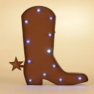 Glitzhome Rustic LED Marquee Light Western Cowboy Boot Sign