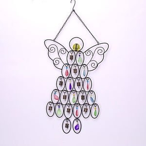 Glitzhome Wind Chime Iron Beaded Angel Patio Sign