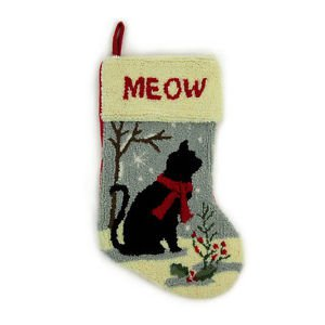 Free shipping! Glitzhome Handmade 19 Inch Hooked Cat Christmas Stocking