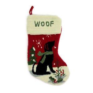Free shipping! Glitzhome Handmade 19 Inch Hooked Dog Christmas Stocking